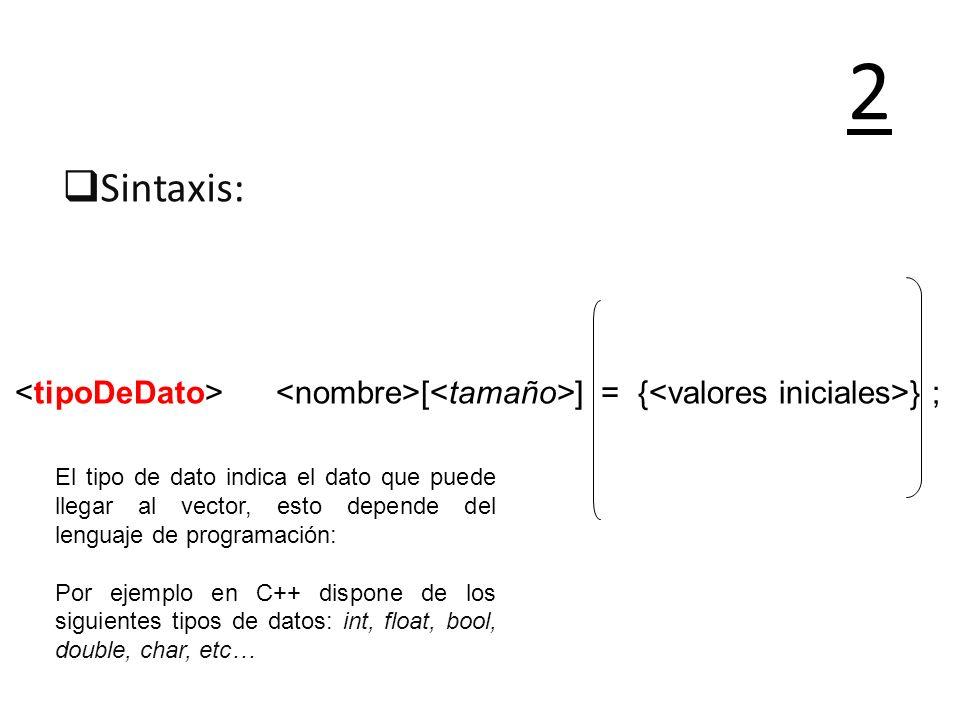 2 Sintaxis: <tipoDeDato> <nombre>[<tamaño>] = {<valores iniciales>} ;